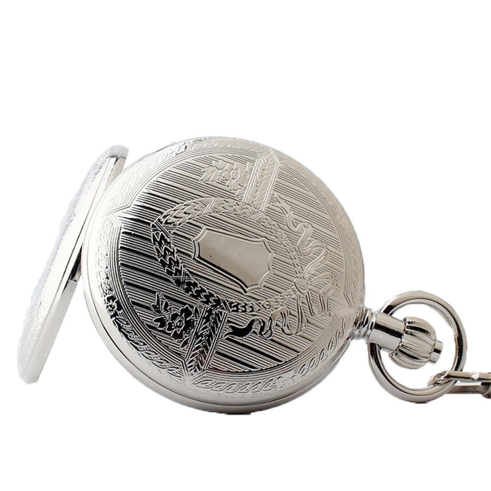 Zxcvlina Classic Smooth Retro Roman Numberals Mechanical Pocket Watch Silvery Boutique Unisex Creative Gift Copper Pocket Watch with Chain Suitable for Gift Giving by Zxcvlina (Image #3)