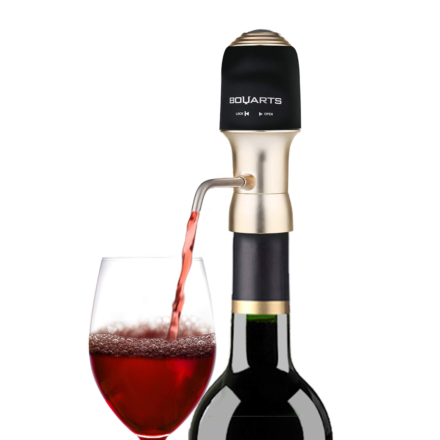 BOUARTS Wine Aerator Wine Gifts, FDA Approved, One-Touch Portable Luxury Wine Air Pressure Aerator with Edible Grade Silicone Material, Convenient Spout, Enhance Wine Flavor of All Ages, Gift Box by BOUARTS