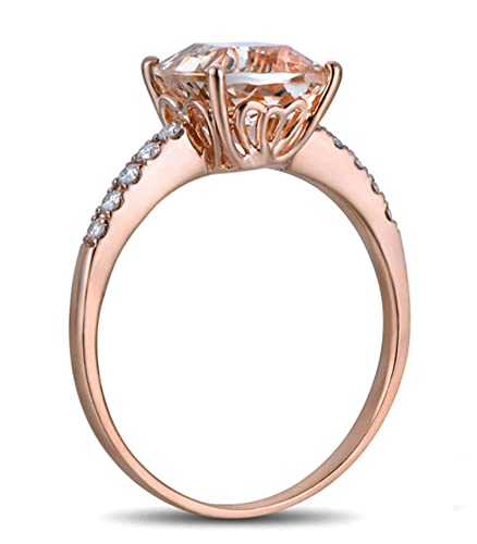 Epinki 18k Oro Anillos para Mujer Cuadrado Anillo Solitario Anillos de Compromiso con Blanco Marrón Diamante Rosa Berilo: Amazon.es: Joyería