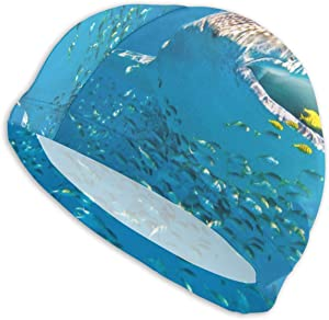 Whale Shark Underwater Ocean Wallpaper Men's and Women's Swimming Caps, High Elastic Swimming Caps Can Keep Hair Clean and Breathable, Suitable for Long Hair, Short Hair and Swimming Cap