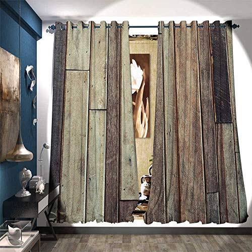 BlountDecor Waterproof Window Curtain Antique Planks Flooring Wall Picture American Style Western Rustic Panel Graphic Print Waterproof Window Curtain W108 x L84 Brown