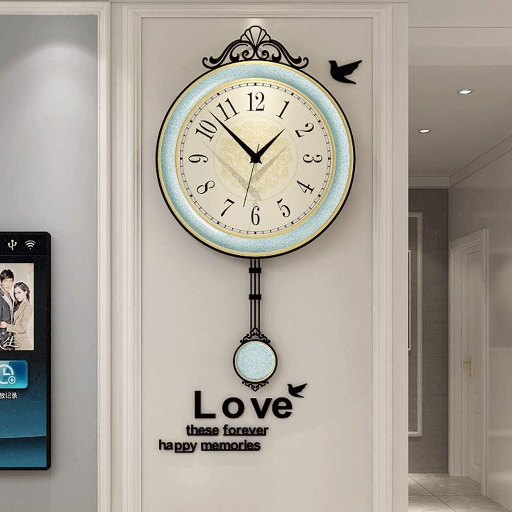 Modern Clock with Pendulum Wall Clock Living Room Home Creative Decoration  Minimalist Atmosphere Mute Bedroom Clock (Size : L)