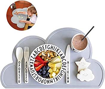 Baby Placemat, Silicone Mat - Placemat for Kids Silicone Waterproof Baby Placemat Meat Meal Mat Table Mat Cute Portable Food Mat Travel Placemat for Toddler, Non Slip Placemat Easy Clean (Light Gray)