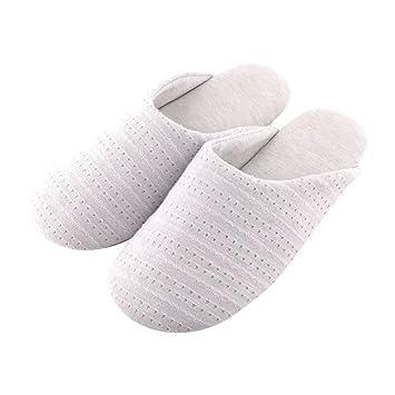 44704fa83c036 Tofern Pantoufles Chaussons Coton Lin Confortable Ergonomique Semelle  Antidérapant Hiver Automne Adulte Femme Homme Enfant Fille