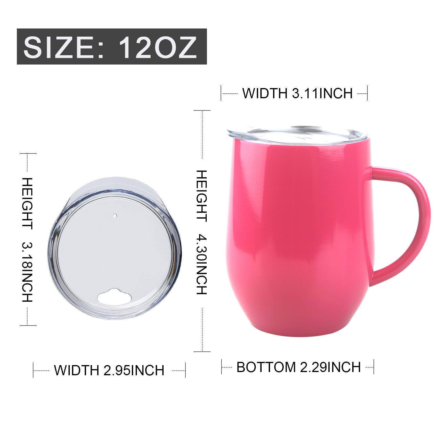 Drinks Lightingsky 12oz Double-insulated Wine Cup Stainless Steel Wine Glasses Travel Tumblers with Lid Great for Champagne 12oz, Rose-2 Pack Cocktails
