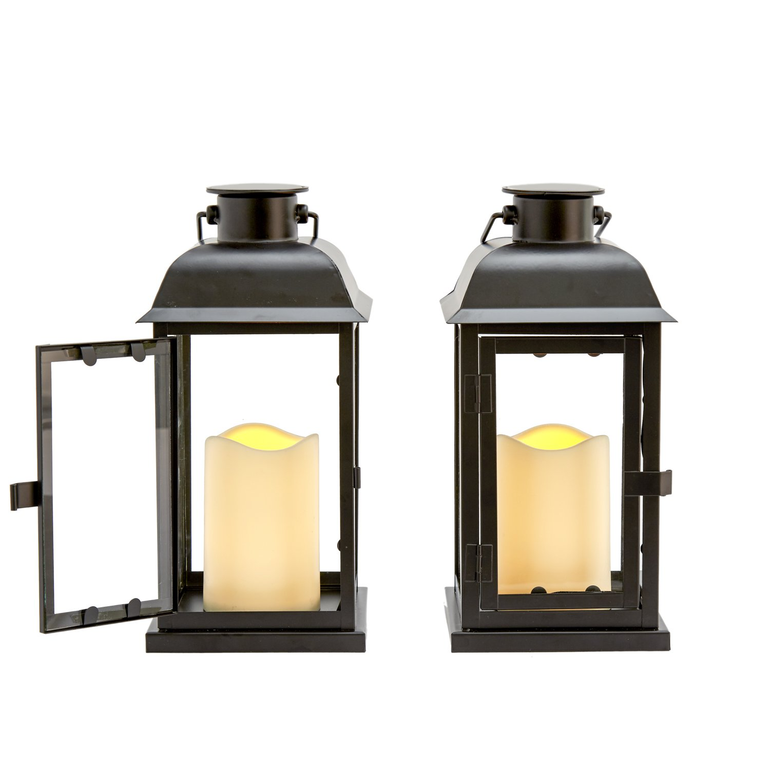 Outdoor Solar Candle Lanterns - Set of 2 Decorative Solar-Powered Lights with Dusk to Dawn Timer, 11 Inch Height, Waterproof, for Porch or Patio Decor - Rechargeable Batteries Included