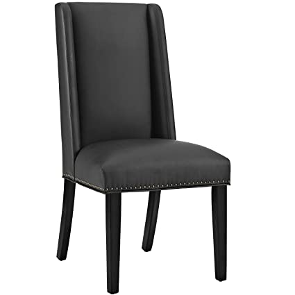 Genial Modway Baron Upholstered Vinyl Modern Tall Back Parsons Dining Chair With  Nailhead Trim And Wood Legs