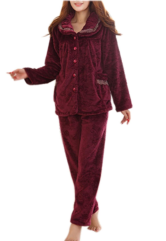 VECJUNIA Ladies Lace Fleece Winter Warm Cozy PJ Pyjama Set Nightwear Wine Red XXL