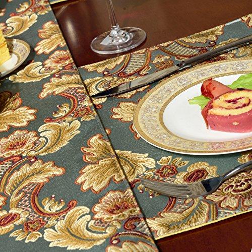 Qxfsmile modern jacquard floral table runner handmade for 120 inches table runner