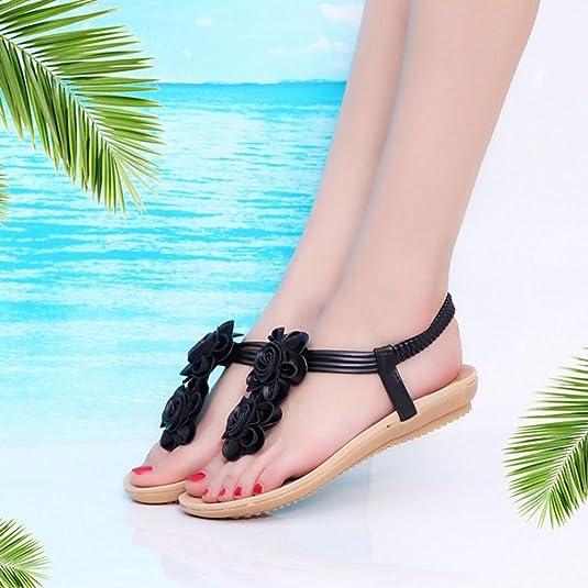 Elegant Sandalette Sommer Damen Flache Sandalen Flache Damen Römische Blume 1c36e5