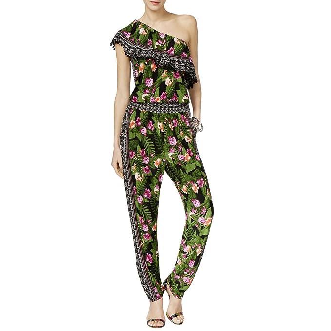 b9578129cc7 Amazon.com  INC Womens Jersey One Shoulder Jumpsuit Green L  Clothing