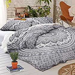 Ombre Duvet Doona Cover Mandala Hippie Bohemian Queen Quilt 2 pillow Cover Blanket