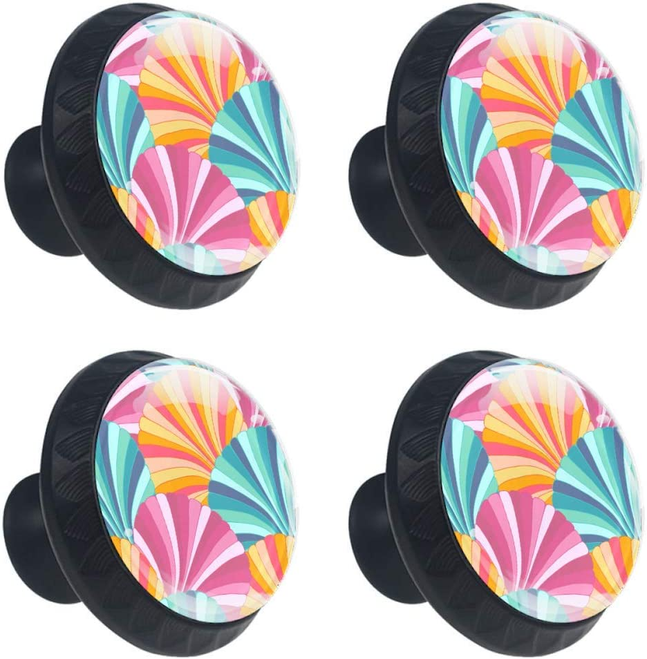 Kitchen EVANLinism 4 Pack Colorful Shells Pattern Cabinet Door Knobs Kids Drawer Handles Round Pulls Cupboard Dresser Bookcase Wardrobe with Screws for Home 1-3//8 Inches Bedroom