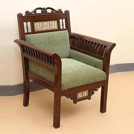 Exclusivelane Elegant Maharaja Teak Wood Sofa Cum Living Room Chair With  Dhokra Work (Brown) Part 43