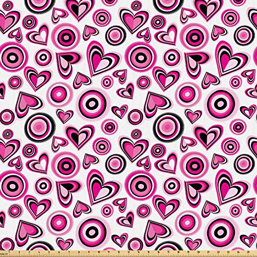 Ambesonne Love Fabric by The Yard, Stylized Pink Hearts and Circles Doodle Style Cute Romantic Floral Artful Design, Microfiber Fabric for Arts and Crafts Textiles & Decor, 1 Yard, Pink Black White