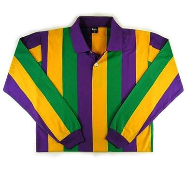 9760093a3 KAPLIN Mardi Gras Vertical Striped Rugby Shirt L S ( 109) at Amazon ...