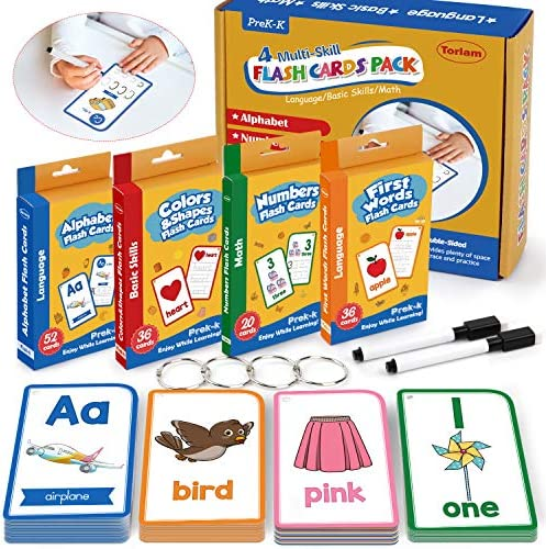 Alphabet Flash Cards for Toddlers-FlashCards Set of 4-NumbersAlphabetsFirst WordsColors&ShapesKindergarten Kids Cards Toddler Learning Activities(Upgraded Version for Tracing Letters and Numbers)