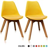 Krei Hejmo Plastic Dining Chair Side Chair with Wood Base - Set of Two (2) (Yellow)