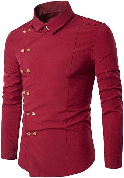 Camisa Hombres, Sonnena pas barato promoción nuevo estilo personalidad V Neck Concis Sexy hombre Casual Slim botón manga larga camisa informal gentilhombre botón estilo mezcla de algodón chandail camisa M-XXL Size: Amazon.es: