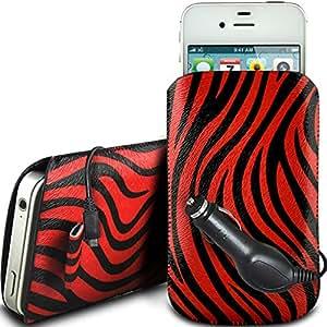 N4U Online - Nokia Asha 500 protección PU Zebra Diseño deslizamiento cordón tirador de la cremallera en la caja de la bolsa con cierre rápido y CE Cargador de coche - rojo