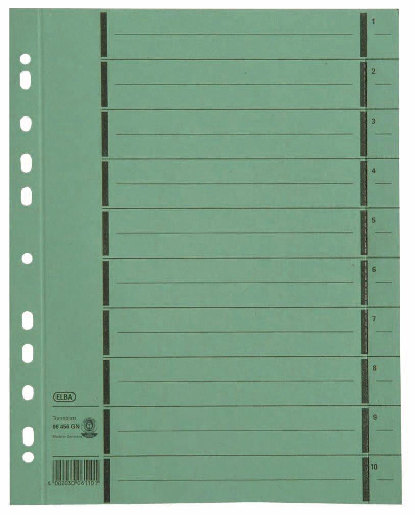 Elba 06456GN riferimento divisori per indicizzazione documenti, numerati 1-10, finitura colorata, in carta completamente riciclata, 100 pz, colore: verde Hamelin GmbH 400004667 17313024
