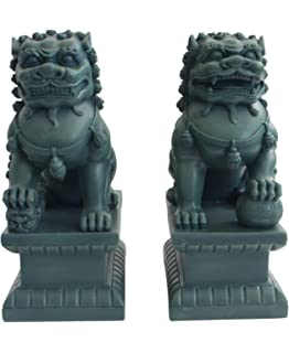 Set Of Two Guardian Lions Statues, 18 Inches