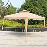Cloud Mountain Pop up Canopy Tent 10x10 ft Patio Portable Instant Folding Canopy Party Outdoor Canopy with Carry Bag, Tan
