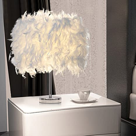 Feather Table Lamps Living Room Modern Bedside Table Light Bedroom Desk Night Light Lampshade Wedding Room White 15 35cm