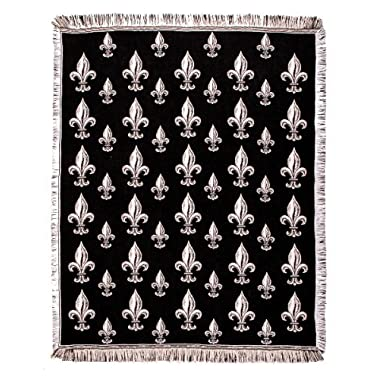 Black Fleur De Lis Fringed Afghan Throw Blanket 60  x 50