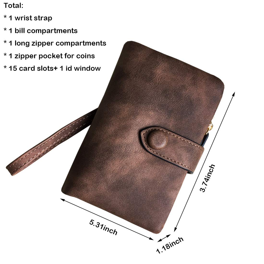 Women's Small Bifold Leather wallet Rfid blocking Ladies Wristlet with Card holder id window Coin Purse (Brown) by Freehorse (Image #7)