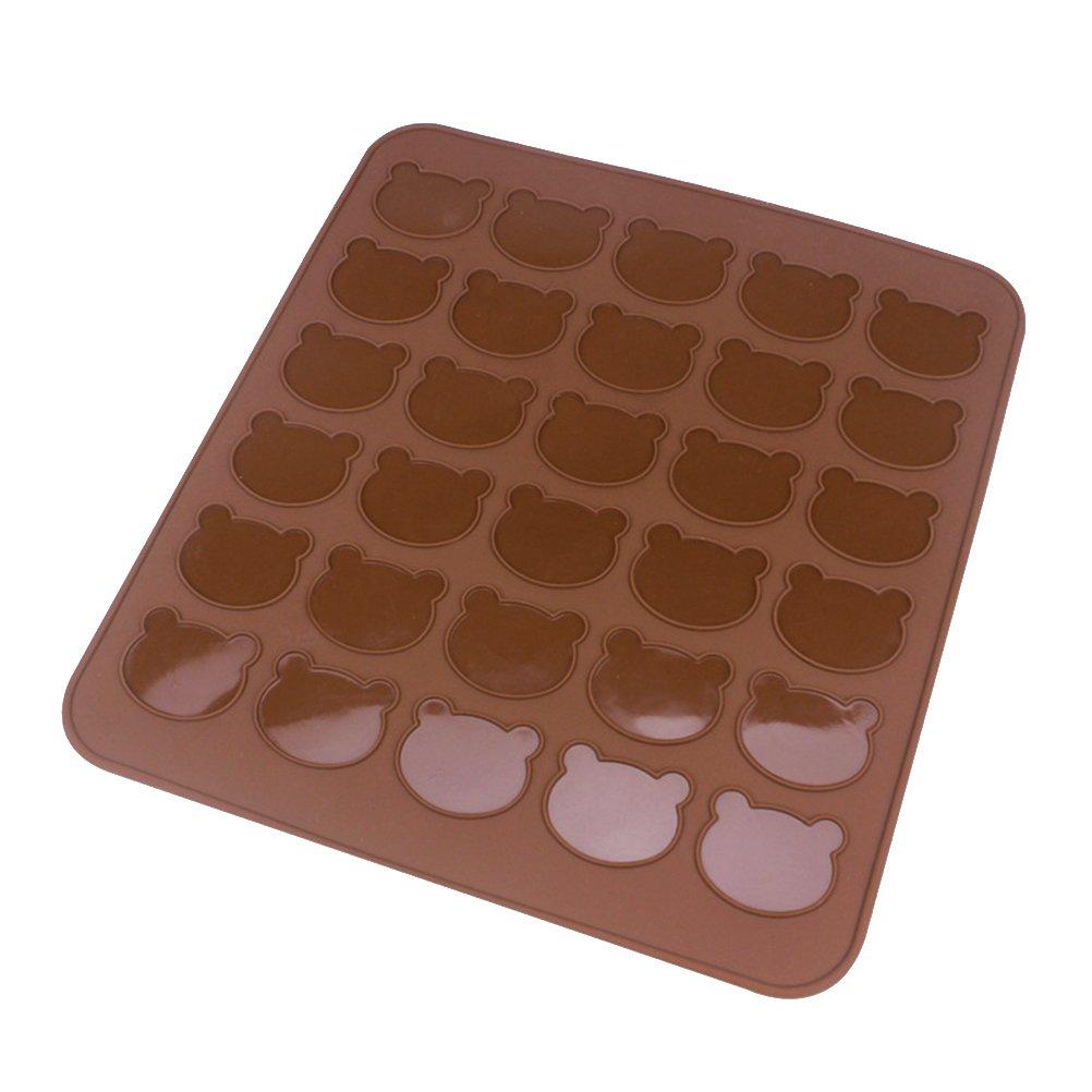 BESTOMZ Tapis de cuisson au silicone Macarons,capacité de cuisson 30 (tête d'ours)