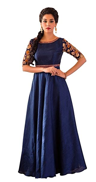 43a5d06bd Wommaniya Impex New Designer Women's Blue Banglori Silk Embroidery Party  wear Ready Made Maxi Dress Gown (L): Amazon.in: Clothing & Accessories