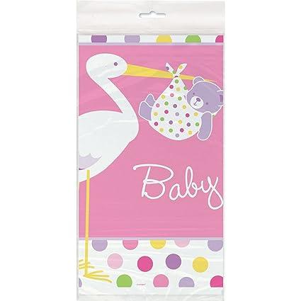 Pink Stork Baby Shower Plastic Tablecloth, 84u0026quot; ...