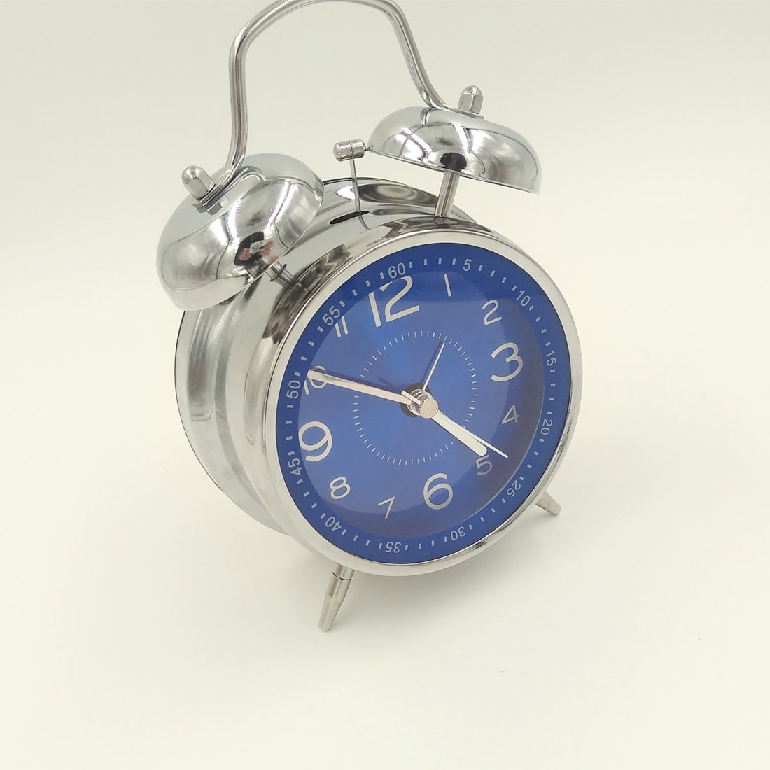YDL 4'' Quiet Non-ticking Silent Quartz Analog Retro Vintage bedside Twin Bell Alarm Clock With Loud Alarm and Nightlight. Battery Powered (Blue)