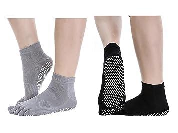 G 2 Pares Calcetines Antideslizantes para Yoga Pilates Ejercicios Deportivo (Negro+Gris