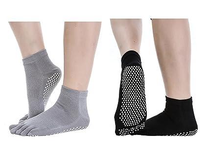 SANIQUEEN.G 2 Pares Calcetines Antideslizantes para Yoga Pilates Ejercicios Deportivo