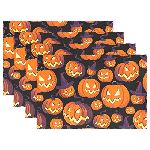 My Little Nest Forest Night Halloween Pumpkins Placemats Dining Pad Washable Table Mats for Party Kitchen Dining Table Home Decor 1 Piece