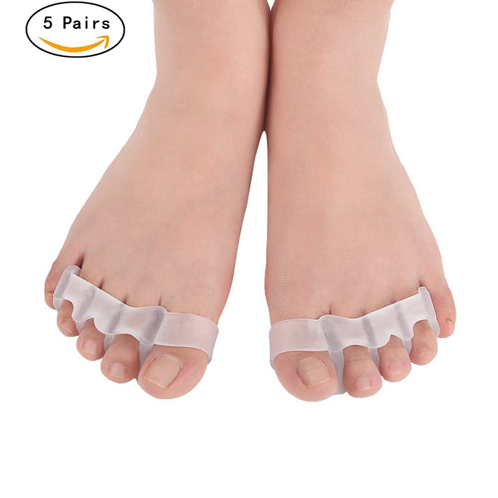Soft Toe Separators Straighteners Spreader,Foot Care Tool for Women and Men,Gel Toe Stretchers Spacers Protector,Overlapping Toes Correctors for Bunion Pain Relief,5 Pairs