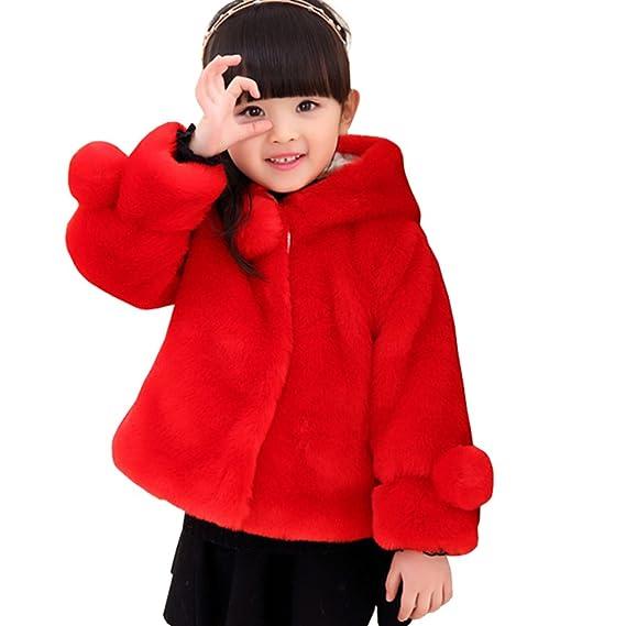 Ankoee Mignon Filles Manteau Fausse Fourrure Veste Chaud Hiver Cape  Blousons Vêtements Chauds Enfants Fille (140cm 5-6 Ans, Rouge)  Amazon.fr   Vêtements et ... 71e42174ae1b
