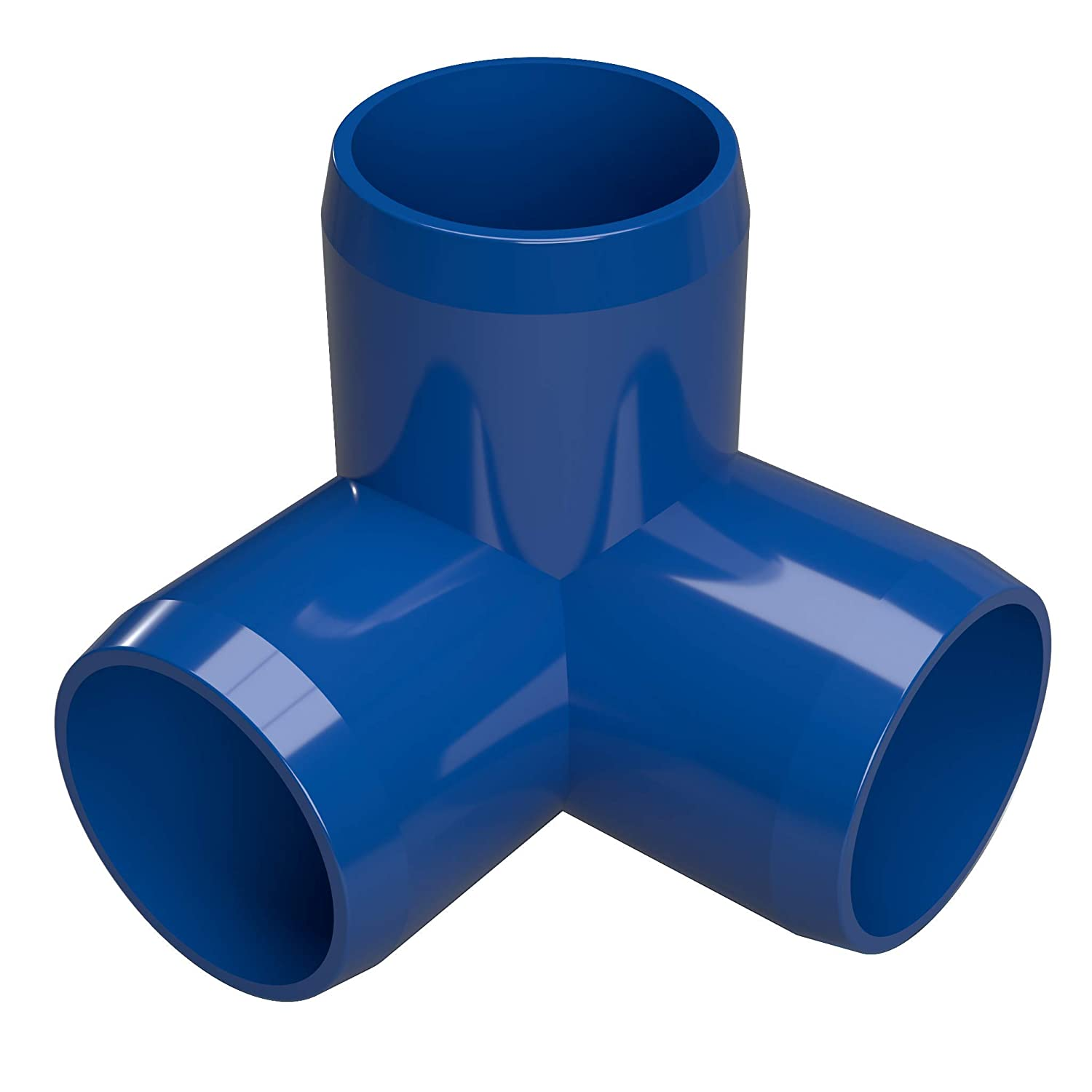 "FORMUFIT F0343WE-BL-8 3-Way Elbow PVC Fitting, Furniture Grade, 3/4"" Size, Blue (Pack of 8)"