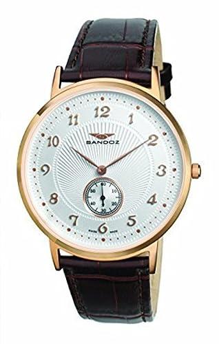 RELOJ SANDOZ SUIZO CLASICO HOMBRE CHAPADO ORO CORREA 81271-05: Amazon.es: Relojes