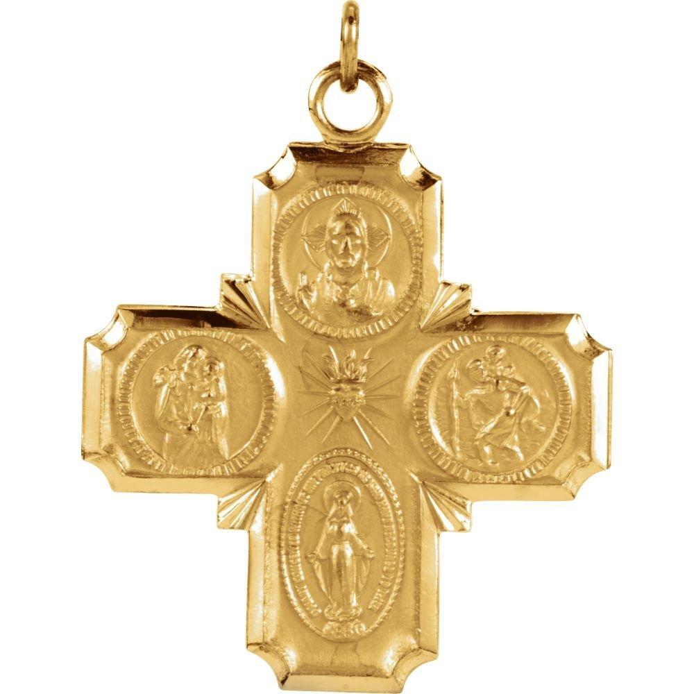 FB Jewels 14K Yellow Gold 25x24mm Four-Way Cross Medal
