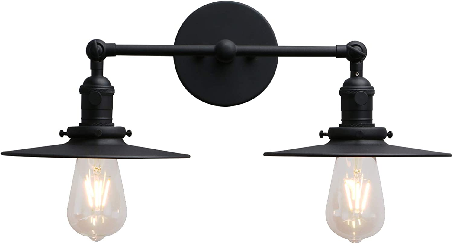 Amazon Com Phansthy 2 Lights Sconce With Switch Matte Black Vanity Light With Dual 7 87 Inches Flat Crafted Light Shade Matte Black Home Improvement