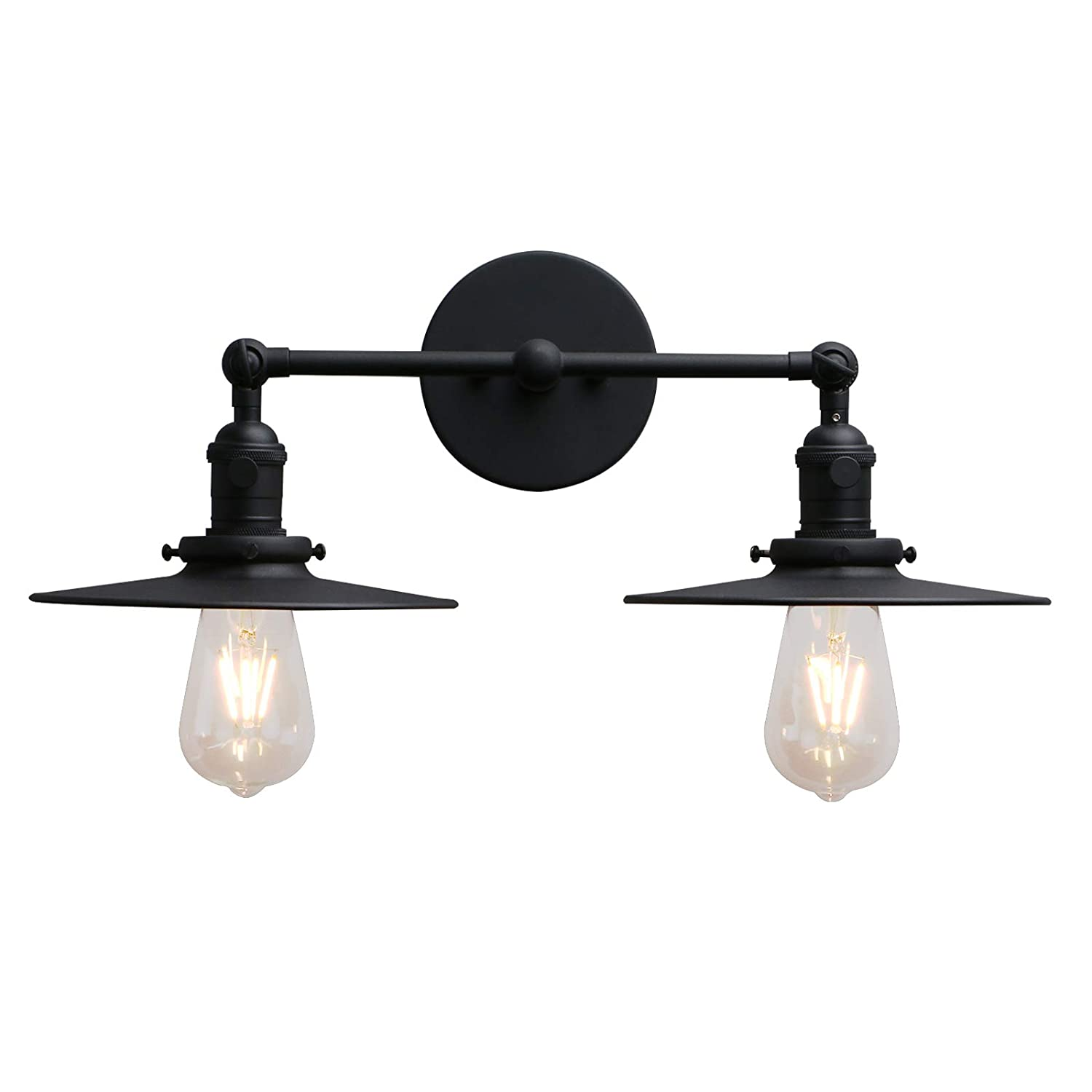 Phansthy 2 lights sconce with switch matte black vanity light with dual 7 87 flat crafted light shade matte black