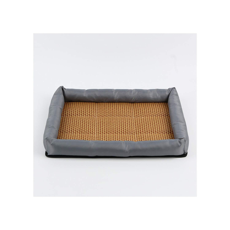 Summer Pet Mat Kennel Cooling Dog Mattress Rattan Breathable Mat Pet Bed Pet Sleeping Resting Comfortable Dog Accessories,Gray,Xs