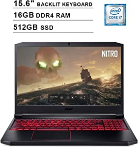 2020 Acer Nitro 7 15.6 Inch FHD 1080P Gaming Laptop (Intel 6-Core i7-9750H up to 4.5 GHz, GeForce GTX 1650 4GB, 16GB DDR4 RAM, 512GB SSD, Backlit KB, WiFi, HDMI, Windows 10) (Black)