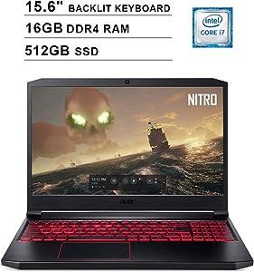 2020 Acer Nitro 7 15.6 Inch FHD 1080P Gaming Laptop (Intel 6-Core i7-9750H up to 4.5 GHz, GeForce GTX 1650 4GB, 16GB DDR4 RAM, 512GB SSD, Backlit KB, WiFi, HDMI, Windows 10) (Black)