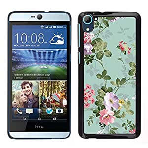 HTC Desire 826 dual Único Patrón Plástico Duro Fundas Cover Cubre Hard Case Cover - Green Teal Vintage Wallpaper Flowers