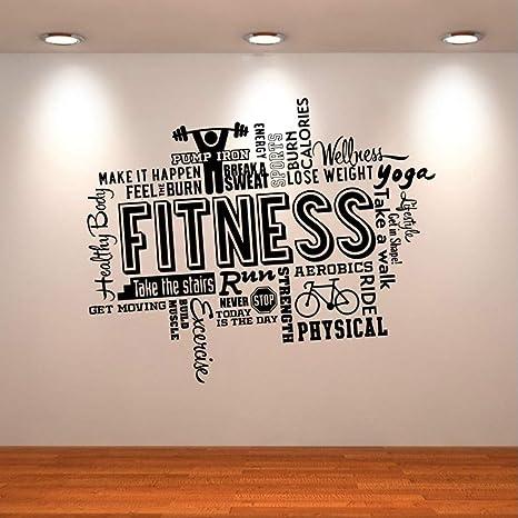 Pawang Wandtattoo Gesunder Lebensstil Sport Wandaufkleber Motivation Fitness Gym Vinyl Dekore Fur Wande Kunst Repetable 75 61 Cm Amazon De Kuche Haushalt
