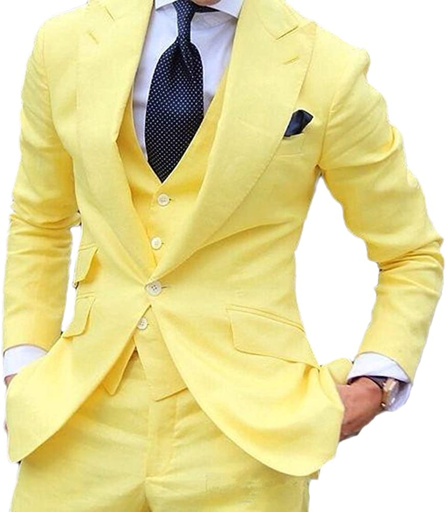 Vintage 3 Piece Yellow Men S Suits Wedding Suits Slim Fit Groom Tuxedos Prom Blazer Custom Jacket Casual Suits At Amazon Men S Clothing Store